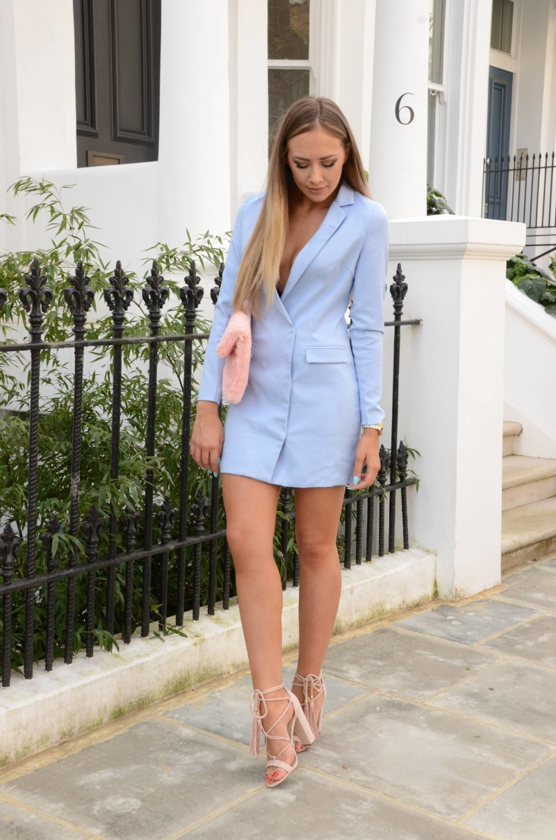 Baby Blue Missguided Blazer Dress Lucy Lu Rose